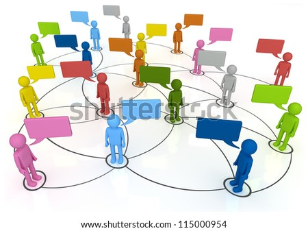 Social Network Connections 3D concept characters chatting in linked web Isolated on White Background - stock photo