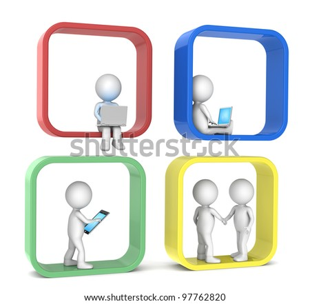 Social Network. 3D little human character X 4. Abstract social network. Color version. People series. - stock photo