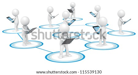 Social Network. 3D little human character X9 in a Network, holding Tablet Computer. People series. - stock photo
