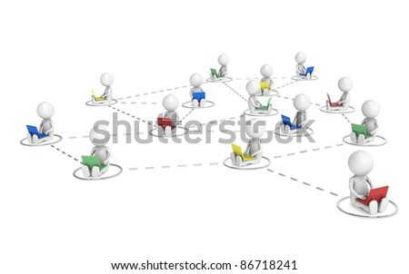 Social Network. 3D little human characters X14 Networking. Chrome. - stock photo