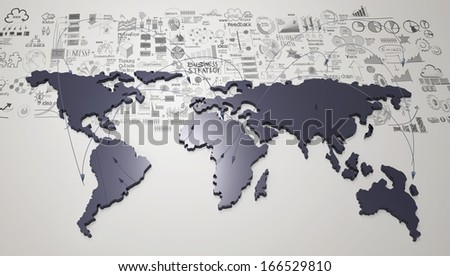social network 3d on world map and hand drawn business strategy as concept - stock photo