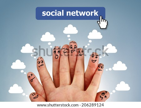 Social network family concept finger people in discussion with speech bubbles - stock photo