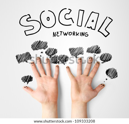 social network, finger smileys with speech bubbles - stock photo