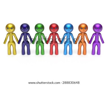 Social network friends character teamwork human resources chain line people diverse friendship row individuality team seven different cartoon persons unity meeting concept colorful. 3d render isolated - stock photo