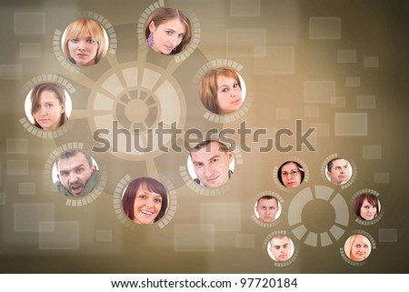 social network friends circle in futuristic background - stock photo