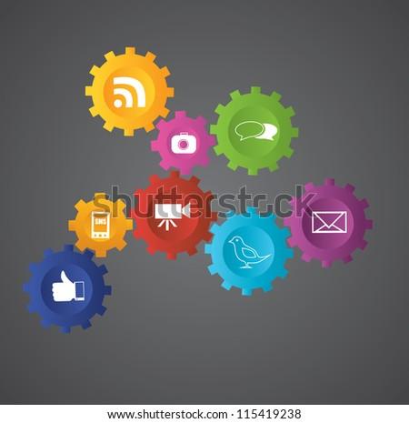 Social network gears - stock photo