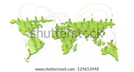 social network human 3d on world map as concept - stock photo