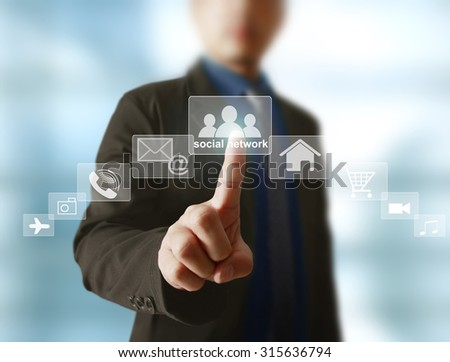Social network icon in hand business man - stock photo