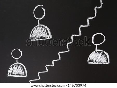 social network icons drawn using chalk on blackboard - stock photo