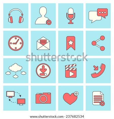 Social network icons flat line set with website elements isolated  illustration - stock photo