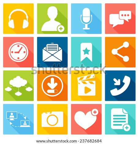 Social network icons flat set with web interface elements isolated  illustration - stock photo