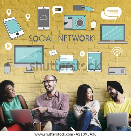 Social Network Icons Graphics Concept - stock photo