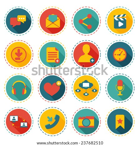 Social network icons round buttons set with communication elements isolated  illustration - stock photo
