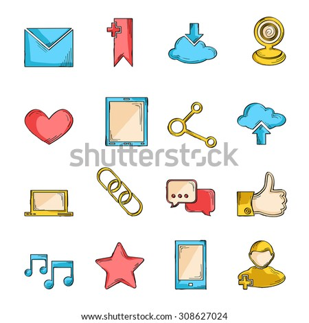 Social network icons sketch line set with communication user interface elements isolated  illustration