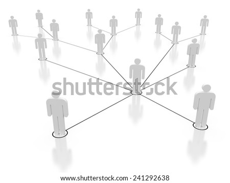 Social network in white, 3d render