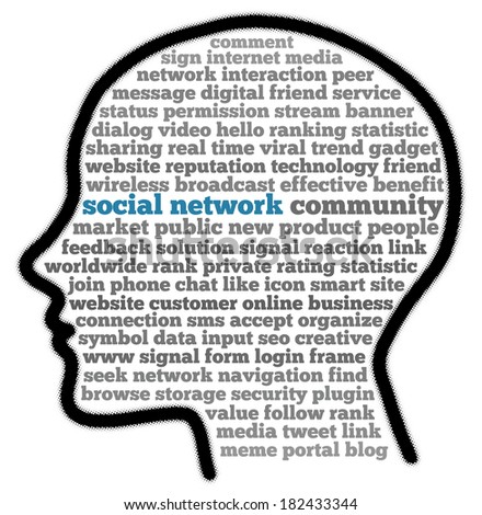 Social Network in word cloud - stock photo