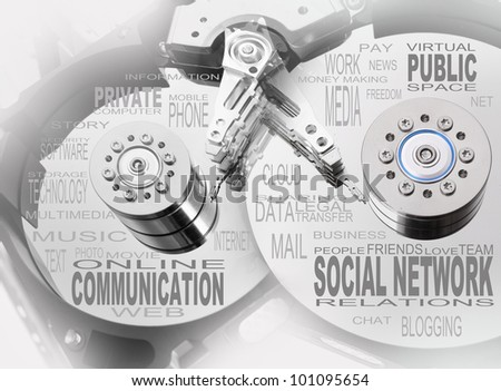 Social network info-text graphics and arrangement concept on the hard drive. - stock photo