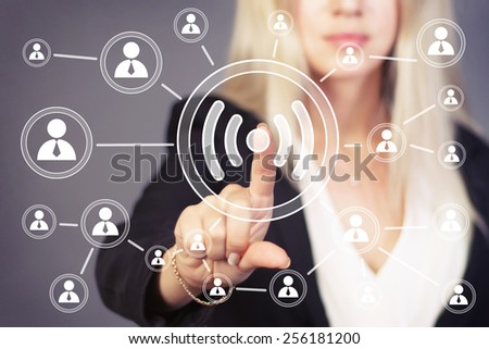 Social Network Interface business wifi button web - stock photo