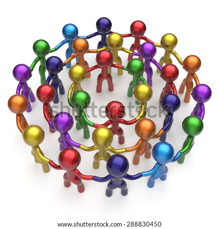 Social network large group people human resources teamwork circle characters worldwide friendship individuality team different cartoon friends corporate unity icon concept colorful. 3d render isolated - stock photo