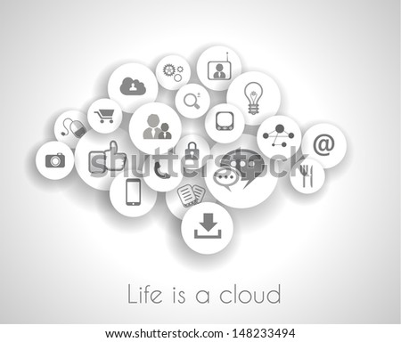 Social network life concept with cloud reference. A lot ot icons with delicate shadows - stock photo