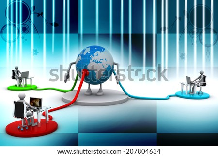 Social network members typing on laptop computers - stock photo