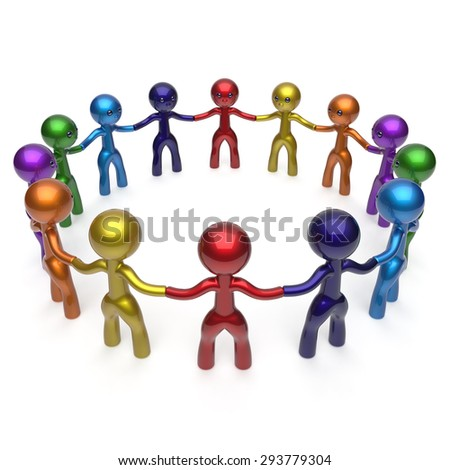 Social network men circle characters together worldwide internet large group stylized people teamwork friendship individuality team different cartoon friends unity human resources concept 3d render - stock photo