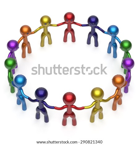 Social network men together circle characters worldwide large group stylized people teamwork friendship individuality team different cartoon friends unity human resources concept. 3d render isolated - stock photo