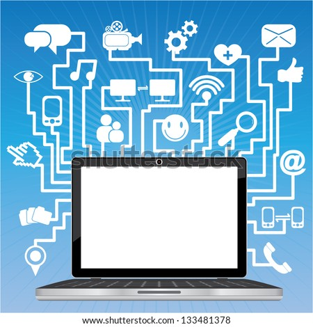 Social Network or Social Media Concept Present By Computer Laptop or Computer Notebook With Blank Screen and Group of Online Communication Icon in Blue Shiny Background - stock photo
