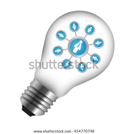 Social Network or Society Icon Inside Light Bulb Isolated on White Background - stock photo