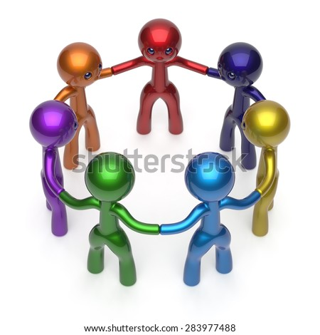 Social network people circle teamwork diverse characters friendship individuality team seven different cartoon friends unity meeting icon concept colorful. 3d render isolated - stock photo