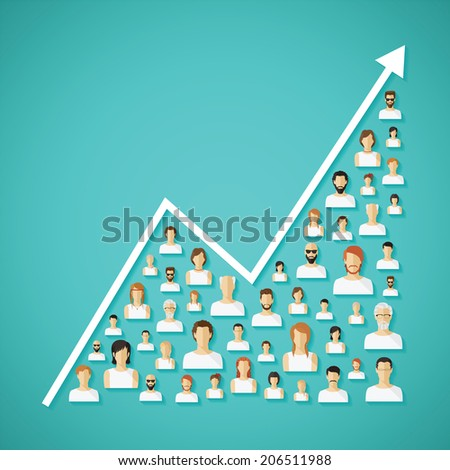 Social network population and demography growh concept with flat human icons. Rasterized illustration. - stock photo