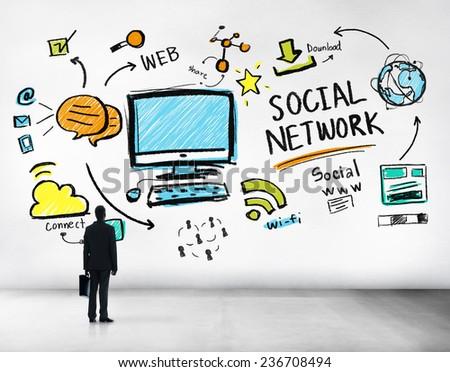 Social Network Social Media Businessman Goals Aspiration Concept - stock photo