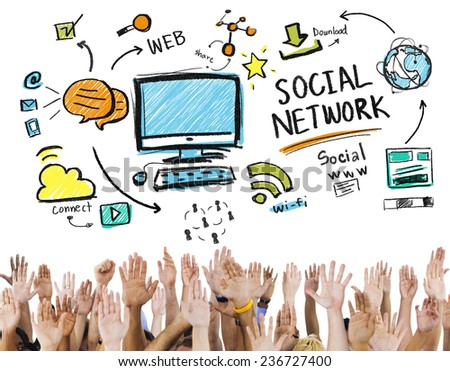 Social Network Social Media Hands Participation Unity Concept - stock photo