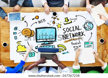 Social Network Social Media Meeting Communication Workplace Concept - stock photo