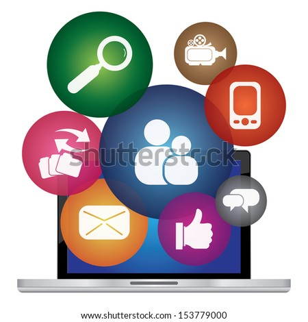 Social Network, Social Media or Online Business Concept Present By Computer Laptop With Group of Colorful Social Media Icon Isolated on White Background