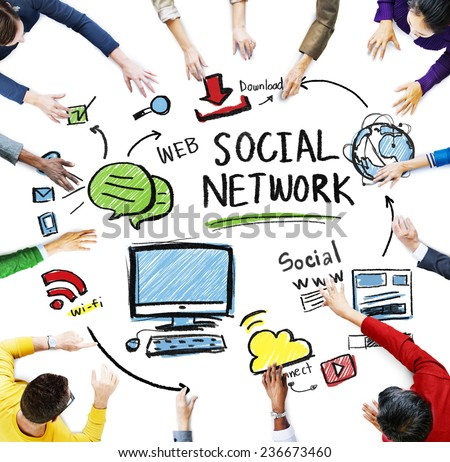 Social Network Social Media People Meeting Teamwork Concept - stock photo