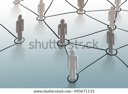 Social network structure, Global network mesh, Group of people talking in social network