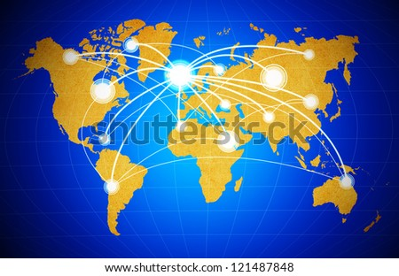 social network structure on World Map  background - stock photo