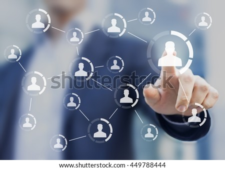 Social network structure showing connections between people?'s profiles, virtual interface with person in background - stock photo