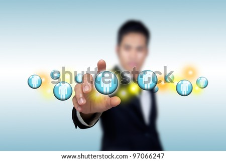 Social network structure with businessmen. - stock photo