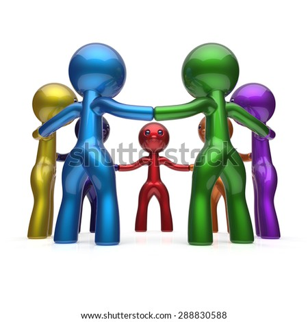 Social network teamwork human resources circle people diverse characters friendship individuality team seven different cartoon friends unity meeting icon concept colorful. 3d render isolated - stock photo