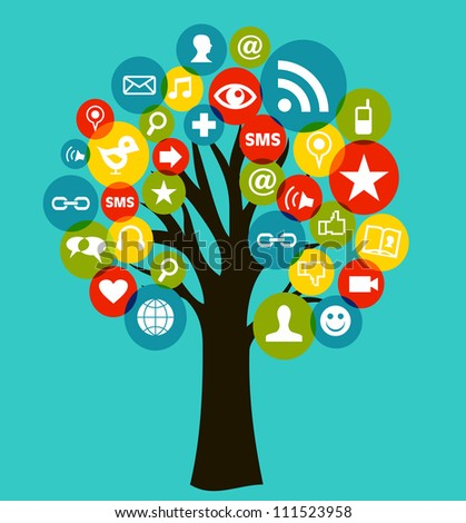 Social network tree business icons leaf. - stock photo