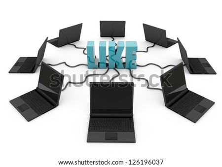 Social Network with laptop computer - turquoise -