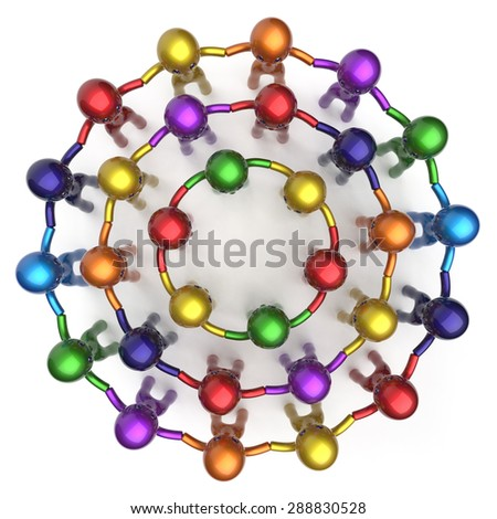 Social network worldwide different cartoon friends large circle characters group people teamwork friendship individuality team corporate human unity icon concept colorful. 3d render isolated - stock photo