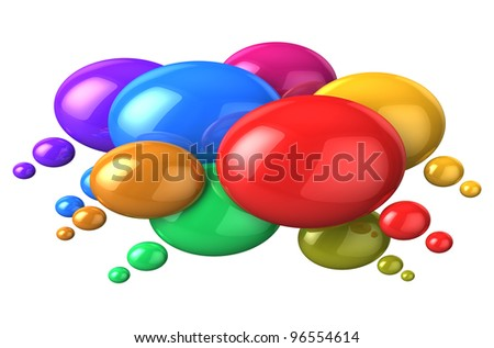 Social networking and media concept: glossy colorful speech bubbles isolated on white background - stock photo