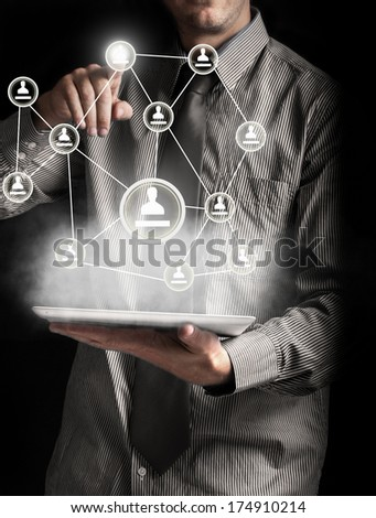 social networking and tablet - stock photo