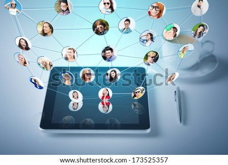 social networking, communication and technology concept - tablet pc with cup of coffee
