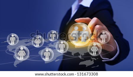 Social networking concept - making and finding friends - stock photo