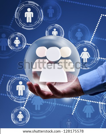 Social networking concept - solution in your hands - stock photo