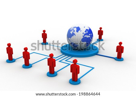 Social networking , globe and peoples connect with network  - stock photo